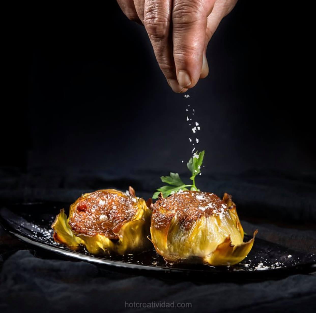 Alcachofas con sobrasada mallorquina y miel de Ayora